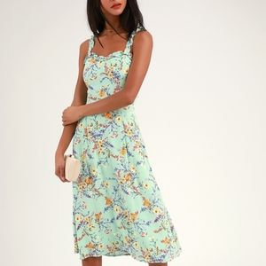 Lulus NWT Sunny Meadow Sage Floral Tie-Back Dress
